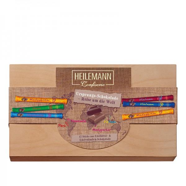 Holzkiste mit Stick Mix Ursprungsschokolade, 480g