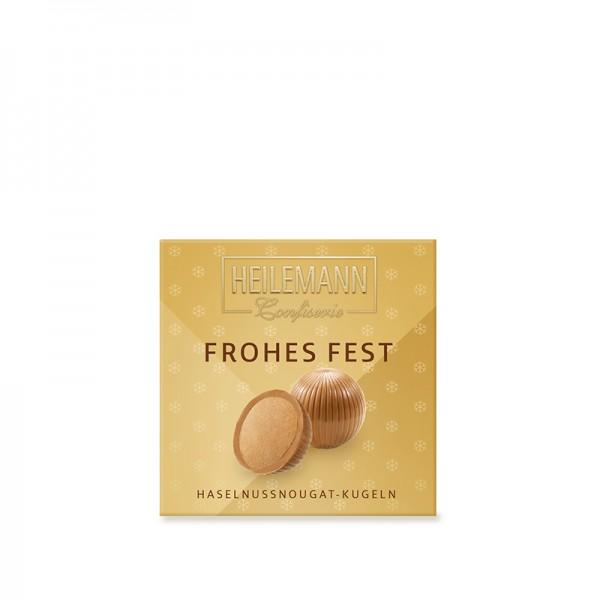 """""""Frohes Fest"""" Haselnussnougat-Kugeln, 75g"""